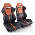 """Krēsls """"Atlanta"""", melns/oranžs, regulējams + sliedes, labais + kreisais"""
