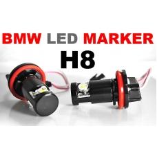 BMW E60/E61 (07-10), E90/E91 (08-11), E63/E64 (07-10), E70, E84, E89, X6, X6M eņģeļ acu LED marķieri, balti, H8