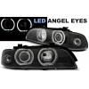 BMW E39 priekšējie lukturi, LED eņģeļ acis, melni, xenona