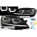 VW Golf 7 (12-...) priekšējie lukturi, LED dayline, R87, melni, dinamisks pagriezienu rāditajs