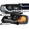 Audi 100 C4 (91-94) priekšējie lukturi, melni, LED Dayline + LED pagriezieni