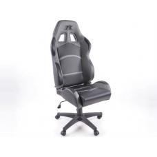 Biroja krēsls bez roku balstiem, ādas imitācijas, melns/pelēks