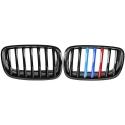 BMW X5 E70 / X6 E71 priekšējās restes, melnas, glancētas trīs krāsu