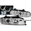 BMW E39 (95-03) priekšējie lukturi, 3D eņģeļ acis + LED pagriezieni, hromēti