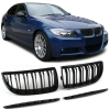 BMW E90/E91 (05-08) priekšējās restes + uzlikas, melnas, glancētas
