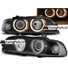 BMW E39 priekšējie lukturi, eņģeļ acis, melni, xenona