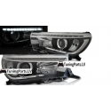Toyota Hilux (16-...) priekšējie lukturi, Led projektora, LED dayline, R87, melni