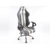 Biroja krēsls ar roku balstiem, ādas imitācijas, pelēks/balts