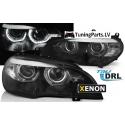 BMW X5 E70 (07-10) priekšējie lukturi, 3D LED eņģeļ acis, melni, Xenona, DRL