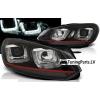 VW Golf 6 priekšējie LED dayline lukturi, R87, melni, red line