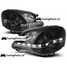 VW Polo 9N3 (05-09) priekšējie LED Dayline lukturi, melni, DRL