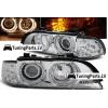 BMW E39 priekšējie lukturi, eņģeļ acis + LED pagriezieni, hromēti