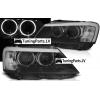 BMW X3 F25 (10-14) priekšējie lukturi, LED eņģeļ acis, melni