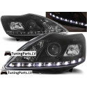 Ford Focus II (08-10) priekšējie lukturi, LED dayline, melni + motori