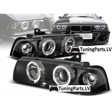 BMW E36 kupejas/kabrio priekšējie lukturi, eņģeļ acis, melni