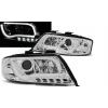 Audi A6 C5 (97-01) priekšējie lukturi, LED dayline, DRL, hromēti