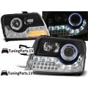 Fiat Panda (03-10) priekšējie LED Dayline lukturi eņģeļ acis + LED pagriezieni, melni