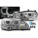 BMW X5 E70 (07-10) priekšējie lukturi, 3D LED eņģeļ acis, hromēti, Xenona, DRL, AFS