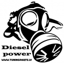 Car sticker - Diesel power - white, 20x20cm