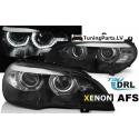 BMW X5 E70 (07-10) priekšējie lukturi, 3D LED eņģeļ acis, melni, Xenona, DRL, AFS