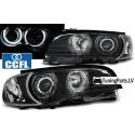 BMW E46 kupejas/kabrio (98-03) priekšējie lukturi + pagriezieni, CCFL eņģeļ acis, melni