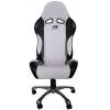 Biroja krēsls bez roku balstiem, ādas imitācijas, balts/melns