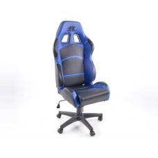 Biroja krēsls bez roku balstiem, ādas imitācijas, melns/zils