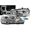 BMW X5 E70 (07-10) priekšējie lukturi, 3D LED eņģeļ acis, hromēti, Xenona, DRL