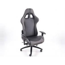 Biroja krēsls ar roku balstiem, ādas imitācijas, melns/pelēks