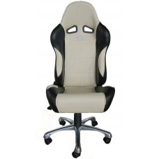 Biroja krēsls bez roku balstiem, ādas imitācijas, bēšs/melns