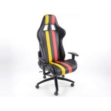 Biroja krēsls ar roku balstiem, ādas imitācijas, melns/dzeltens/sarkans
