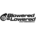 Car sticker - Blowered & Lowered - white, 20x5cm