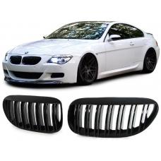 BMW E63 E64 (02-10) priekšējā reste, melnas / glancētas