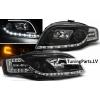 Audi A4 B7 (04-07) priekšējie lukturi, LED dayline, melni + Led pagrieziens