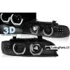 BMW E39 (95-03) priekšējie lukturi, 3D eņģeļ acis + LED pagriezieni, melni