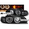 BMW E39 priekšējie lukturi, eņģeļ acis + LED pagriezieni, melni
