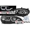 BMW X5 E70 (07-13) priekšējie lukturi, 3D eņģeļ acis, melni, DRL