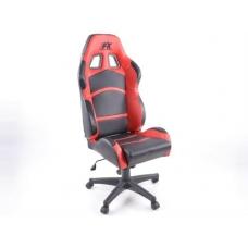 Biroja krēsls bez roku balstiem, ādas imitācijas, melns/sarkans