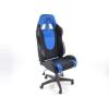Biroja krēsls bez roku balstiem, zamšādas, melns/zils