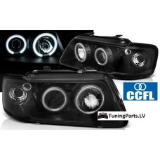Audi A3 8L (96-00) priekšējie lukturi, eņģeļ acis, CCFL, melni