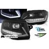 VW T6 (15-...) priekšējie lukturi, LED dayline, DRL + LED pagriezieni, melni SEQ