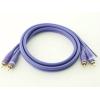 RCA audio vads, dubultais, 1m, apzeltīti gali, violets