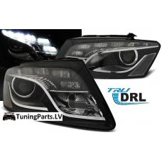 Audi Q5 (11-12) priekšējie lukturi, LED dayline, DRL, melni
