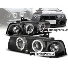 BMW E36 sedana/touringa/kompakta priekšējie lukturi, eņģeļ acis, melni
