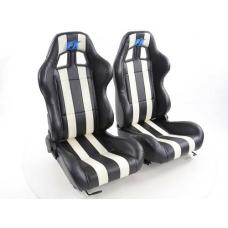 """Krēsls """"Indianapolis"""", melns/balts, regulējams + sliedes, labais + kreisais"""