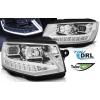 VW T6 (15-...) priekšējie lukturi, LED dayline, DRL + LED pagriezieni, hromēti SEQ