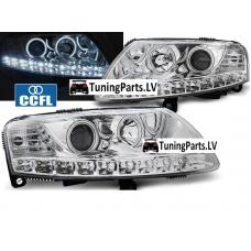 Audi A6 C6 4F (04-08) priekšējie lukturi, CCFL eņģeļa acis, LED Dayline, hrometi
