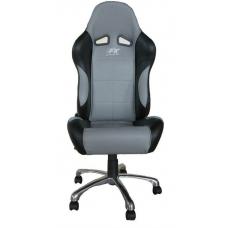 Biroja krēsls bez roku balstiem, ādas imitācijas, pelēks/melns
