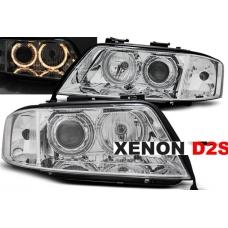 Audi A6 C5 (97-01) priekšējie lukturi, eņģeļ acis, hromēti, xenona