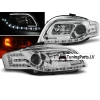 Audi A4 B7 (04-07) priekšējie lukturi, LED dayline, hromēti, LED pagrieziens